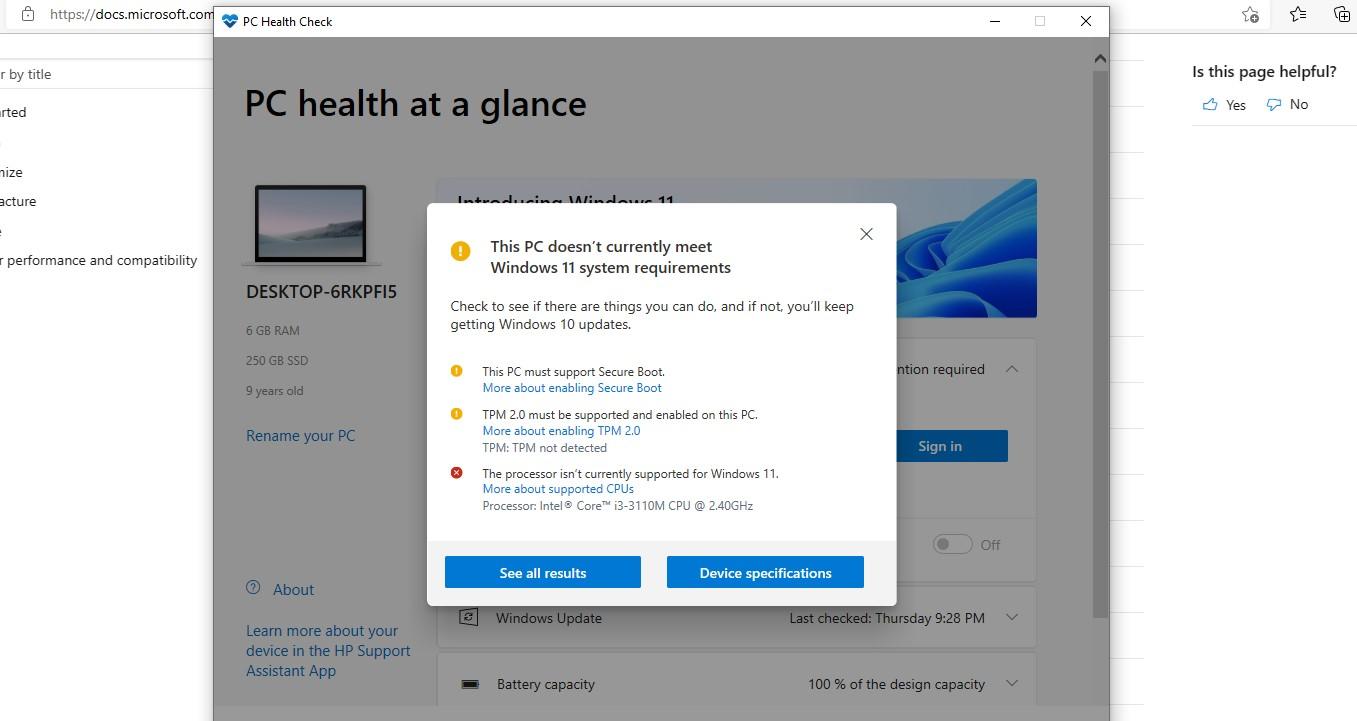 Provjera kompatibilnosti Windows 11
